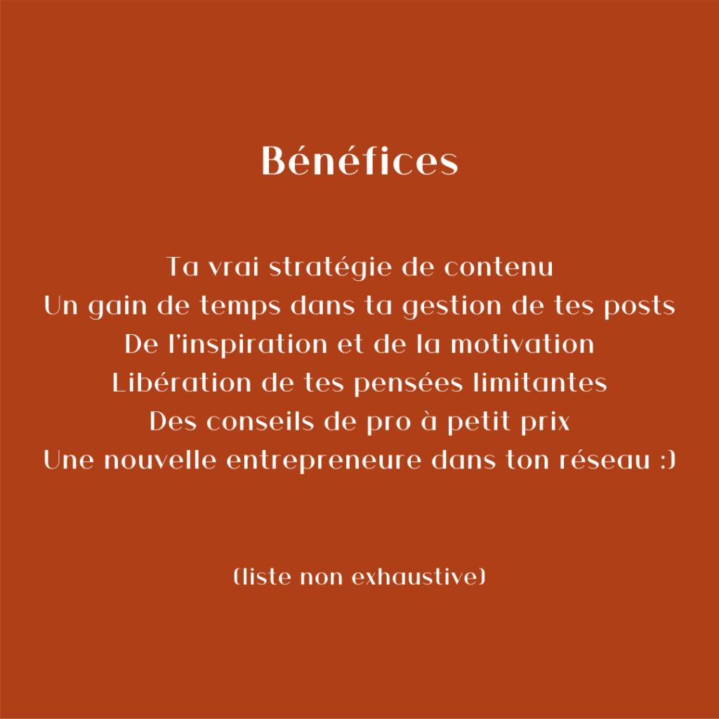 Description des bénéfices du coaching Instagram pro de Ma Marque, Ma Com'